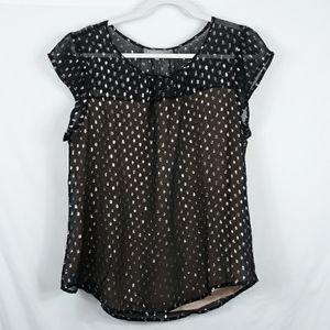 Daniel rainn silk metallic polka dot lined top L